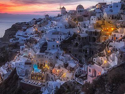 Волшебный закат на Санторини